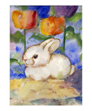 Lonely WHite Bunny Rabbit in the Tulips & Rain