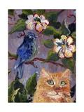 Yellow Tabby Cat watching Bluebird