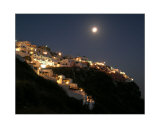 Hillside of Santorini Under Moonlight
