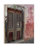 Old Red Door in Santorini Greece