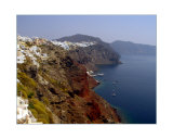 Red  Green and Blue  Coastline of Santorini  Greece