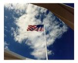 American Flag over Arizona Memorial