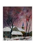snow in sevry village ardennes