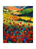 Red poppies in Tuscany (Italy) Reproduction d'art par Pol Ledent