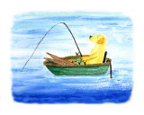 Gone Fishing Yellow Labrador Dog