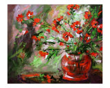 Flamenco - Red Flowers in Ruby Vase
