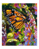 Monarch Butterfly on Lupines Oil Painting
