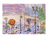 Umbrella Couples - A City Morning
