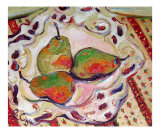 Three Pears in Bowl & Provence Tablecloth