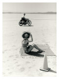 Salt Flat Motorcycle Pin up Poster