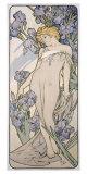 Mucha Nouveau Iris Flower Poster