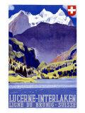 Swiss Alps Lucerne Travel Poster Giclée
