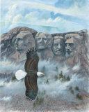 Eagle over Mount Rushmore