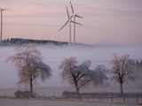 Wind Generators Stand on the Ridge of the Eifel Region Mountains Near Hallschlag  Germany