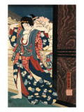 An Oiran with a Paper Kerchief in Her Mouth Advances Toward the Left