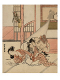 A Man Descends from a Picture Hanging on a Wall to Peak Under the Kimono of a Sleeping Woman