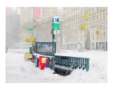 NYC Subway Entrance Buried in Snow