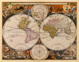 New World Map  17th Century