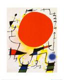 Le soleil rouge Reproduction d'art par Joan Miró