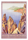Les calanches de Piana Reproduction d'art par Roger Broders
