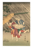 Japanese Woodblock  Rain Storm