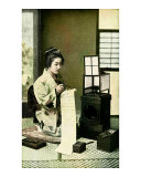 Japanese Geisha Writing Letter