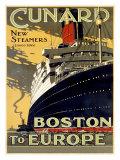 Lignes Cunard, de Boston à l'Europe Giclée