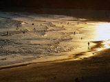 The Setting Sun Illuminates Surfers and Swimmers on Bondi Beach  Sydney  Australia