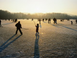 Ice Hockey on Frozen Katzensee Lake  Zurich  Switzerland