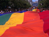 People and Banner at the Gay Day Parade  San Francisco  USA