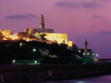 Sunset Behind Coastal Town of Jaffa  Tel Aviv  Israel