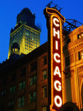Chicago Theatre Facade and Illuminated Sign  Chicago  United States of America