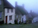 "Street of ""Gold Hill"" Shrouded in Fog  Shaftesbury  Dorset  England"