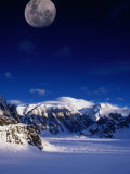 High Moon Over the Ruth Ampitheatre on Ruth Glacier  Denali National Park &amp; Preserve  Alaska  USA