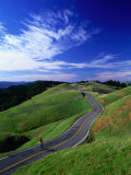 Bicycle Rider on Long and Winding Road  Mount Tamalpais  California  USA