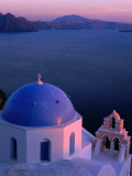 Blue-Domed Church at Sunset  Oia  Santorini Island  Southern Aegean  Greece