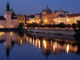 Lights Reflecting on Vltava River at Smetanova Embankment  Prague  Czech Republic