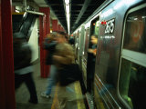 People Disembarking Subway Train  New York City  New York  USA
