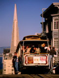 Cable Car on Nob Hill with Transamerica Building in Background  San Francisco  USA