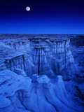 Full Moon Rises Over Landscape in De-Na-Zin Wilderness  Bisti Badlands  New Mexico  USA