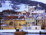 Snow-Covered Houses on Kampa Island on Banks of Vltava River  Prague  Czech Republic