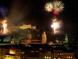 Fireworks Over City  Salzburg  Austria