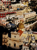 Church of Santa Maria Assunta and Colourful Houses  Positano  Italy
