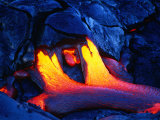 A Glowing New Lava Flow Near Chain of Craters Road  Hawaii (Big Island)  Hawaii  USA