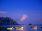 Boats on Kanehoe Bay with Chinaman's Hat in the Distance  Kaneohe  USA