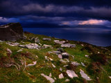 Dark Clouds Hanging Over Rock-Strewn Hillside Above Dingle Bay  Dingle  Ireland
