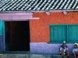 Two Mayan Boys Sitting in Front of House  Todos Santos Cuchumatan  Guatemala