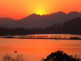 Sunset Over West Lake in Hangzhou  Hangzhou  Zhejiang  China