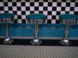 Stools at Classic Diner with Checkerboard Tiling  New Mexico  USA