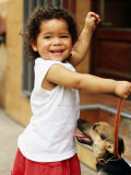 Young Girl with Puppy at Sunday Market  Mataderos  Buenos Aires  Argentina